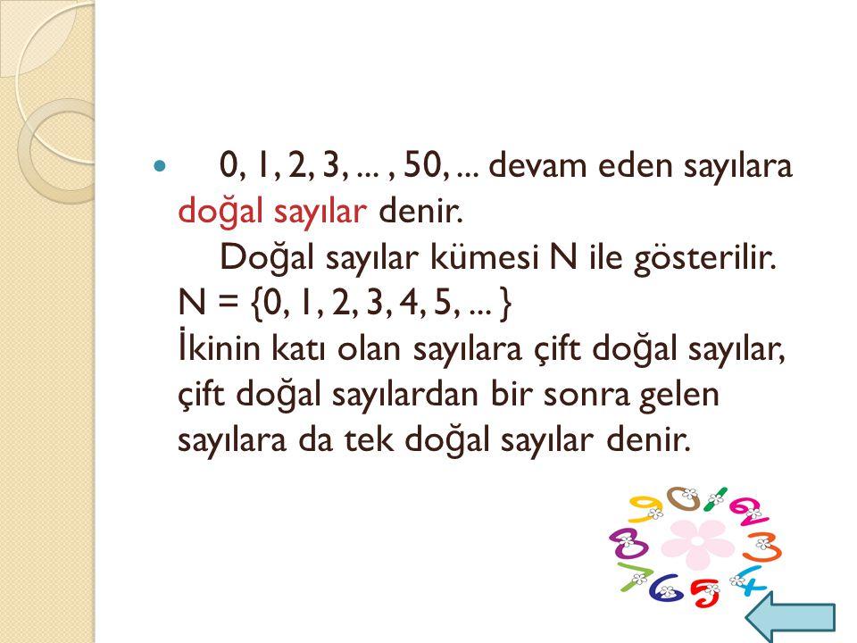 0, 1, 2, 3,..., 50,...devam eden sayılara do ğ al sayılar denir.