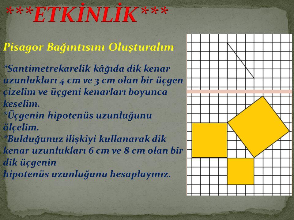 Pisagor Bağıntısını Oluşturalım *Santimetrekarelik kâğıda dik kenar uzunlukları 4 cm ve 3 cm olan bir üçgen çizelim ve üçgeni kenarları boyunca keseli