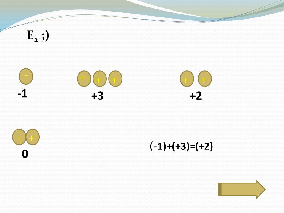 E 2 ;) - + ++ -+ ++ +3+2 0 (-1)+(+3)=(+2)