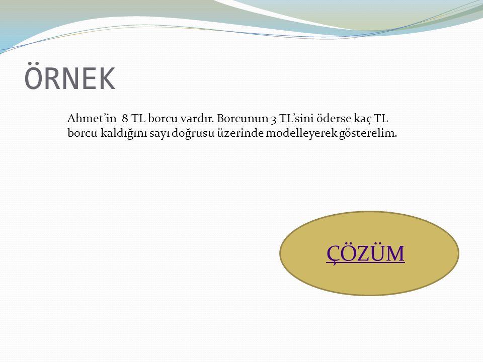 ÖRNEK Ahmet'in 8 TL borcu vardır. Borcunun 3 TL'sini öderse kaç TL borcu kaldığını sayı doğrusu üzerinde modelleyerek gösterelim. ÇÖZÜM