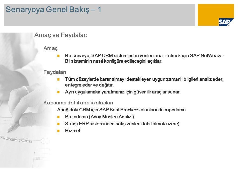 Senaryoya Genel Bakış – 2 Gerekli SAP NetWeaver BI SAP CRM 2007 SAP ECC 6.0 Kapsama dahil şirket rolleri Veri analizinden sorumlu faaliyet prosesi kullanıcısı Gerekli SAP Uygulamaları: Bu belgede sunulan senaryoya genel bir bakış sunmak için, ana raporlar aşağıdaki slaytlarda açıklanır.