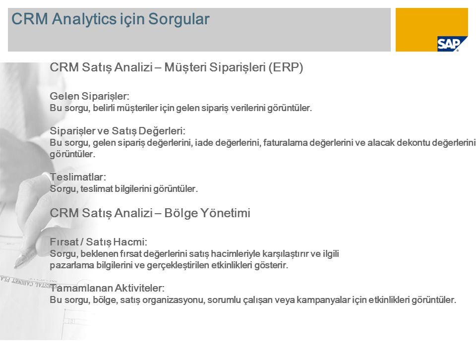 CRM Analytics için Sorgular CRM Satış Analizi – Müşteri Siparişleri (ERP) Gelen Siparişler: Bu sorgu, belirli müşteriler için gelen sipariş verilerini görüntüler.