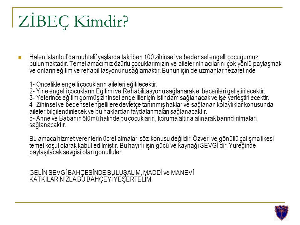ZİBEÇ Kimdir? Halen Istanbul'da muhtelif yaşlarda takriben 100 zihinsel ve bedensel engelli çocuğumuz bulunmaktadır. Temel amacımız özürlü çocuklarımı