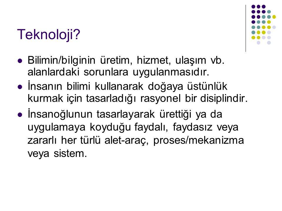 Teknoloji.Bilimin/bilginin üretim, hizmet, ulaşım vb.