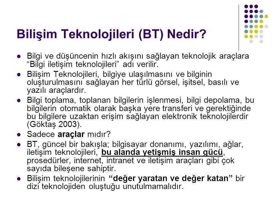 """Bilişim Teknolojileri (BT) Nedir? Bilgi ve düşüncenin hızlı akışını sağlayan teknolojik araçlara """"Bilgi iletişim teknolojileri"""" adı verilir. Bilişim T"""