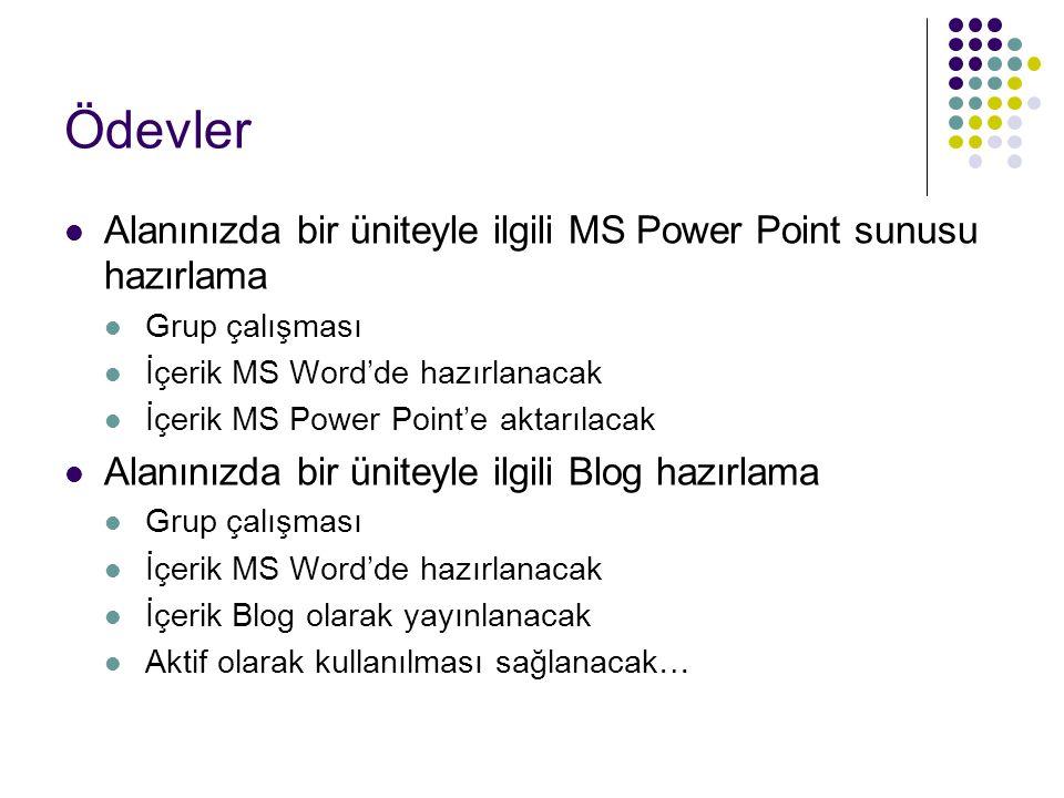 Ödevler Alanınızda bir üniteyle ilgili MS Power Point sunusu hazırlama Grup çalışması İçerik MS Word'de hazırlanacak İçerik MS Power Point'e aktarılacak Alanınızda bir üniteyle ilgili Blog hazırlama Grup çalışması İçerik MS Word'de hazırlanacak İçerik Blog olarak yayınlanacak Aktif olarak kullanılması sağlanacak…