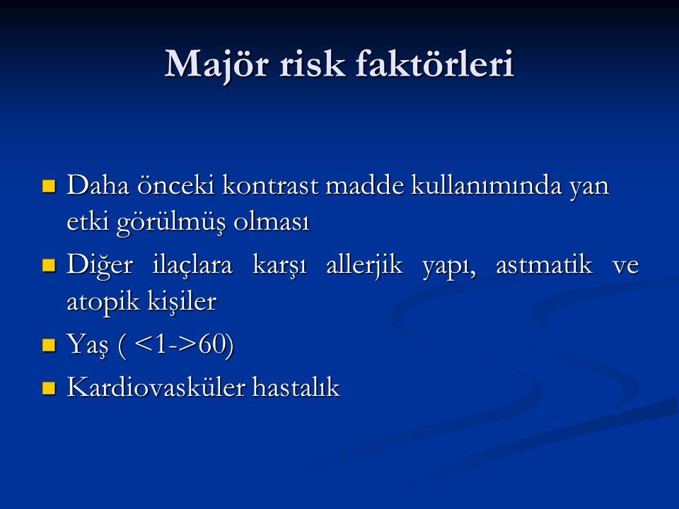 Majör risk faktörleri Daha önceki kontrast madde kullanımında yan etki görülmüş olması Daha önceki kontrast madde kullanımında yan etki görülmüş olması Diğer ilaçlara karşı allerjik yapı, astmatik ve atopik kişiler Diğer ilaçlara karşı allerjik yapı, astmatik ve atopik kişiler Yaş ( 60) Yaş ( 60) Kardiovasküler hastalık Kardiovasküler hastalık