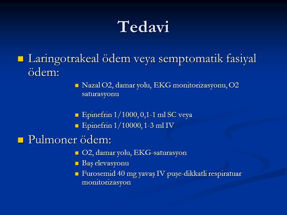 Tedavi Laringotrakeal ödem veya semptomatik fasiyal ödem: Laringotrakeal ödem veya semptomatik fasiyal ödem: Nazal O2, damar yolu, EKG monitorizasyonu, O2 saturasyonu Nazal O2, damar yolu, EKG monitorizasyonu, O2 saturasyonu Epinefrin 1/1000, 0,1-1 ml SC veya Epinefrin 1/1000, 0,1-1 ml SC veya Epinefrin 1/10000, 1-3 ml IV Epinefrin 1/10000, 1-3 ml IV Pulmoner ödem: Pulmoner ödem: O2, damar yolu, EKG-saturasyon O2, damar yolu, EKG-saturasyon Baş elevasyonu Baş elevasyonu Furosemid 40 mg yavaş IV puşe-dikkatli respiratuar monitorizasyon Furosemid 40 mg yavaş IV puşe-dikkatli respiratuar monitorizasyon