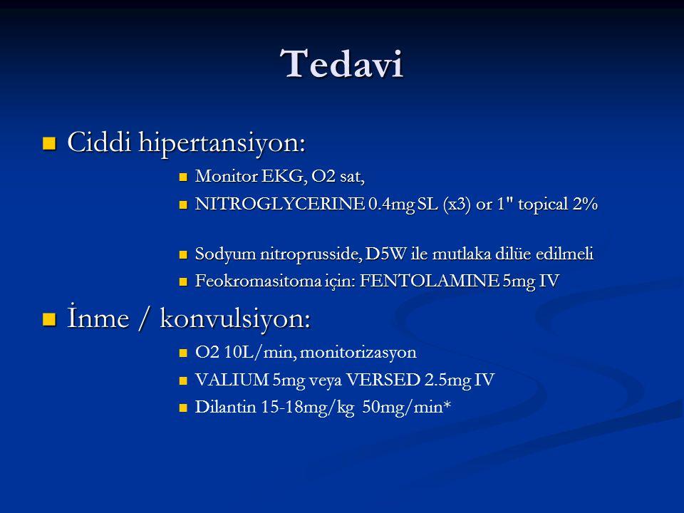 Tedavi Ciddi hipertansiyon: Ciddi hipertansiyon: Monitor EKG, O2 sat, Monitor EKG, O2 sat, NITROGLYCERINE 0.4mg SL (x3) or 1 topical 2% NITROGLYCERINE 0.4mg SL (x3) or 1 topical 2% Sodyum nitroprusside, D5W ile mutlaka dilüe edilmeli Sodyum nitroprusside, D5W ile mutlaka dilüe edilmeli Feokromasitoma için: FENTOLAMINE 5mg IV Feokromasitoma için: FENTOLAMINE 5mg IV İnme / konvulsiyon: İnme / konvulsiyon: O2 10L/min, monitorizasyon VALIUM 5mg veya VERSED 2.5mg IV Dilantin 15-18mg/kg 50mg/min*