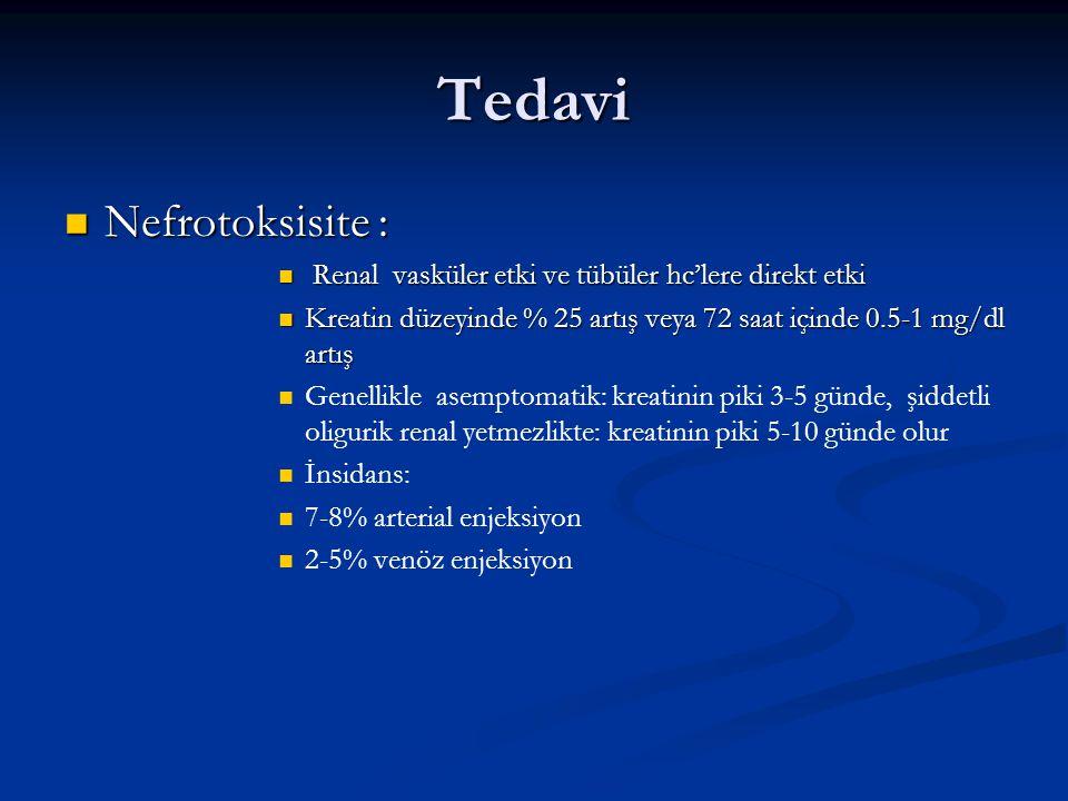 Tedavi Nefrotoksisite : Nefrotoksisite : Renal vasküler etki ve tübüler hc'lere direkt etki Renal vasküler etki ve tübüler hc'lere direkt etki Kreatin düzeyinde % 25 artış veya 72 saat içinde 0.5-1 mg/dl artış Kreatin düzeyinde % 25 artış veya 72 saat içinde 0.5-1 mg/dl artış Genellikle asemptomatik: kreatinin piki 3-5 günde, şiddetli oligurik renal yetmezlikte: kreatinin piki 5-10 günde olur İnsidans: 7-8% arterial enjeksiyon 2-5% venöz enjeksiyon
