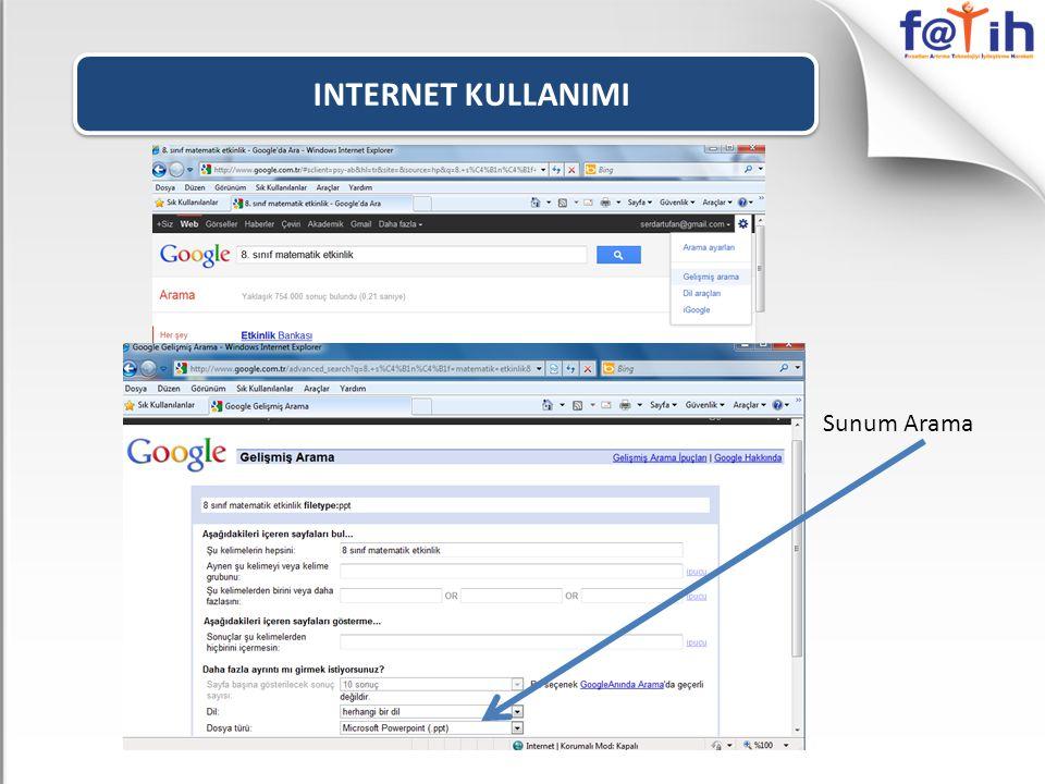 INTERNET KULLANIMI Sunum Arama