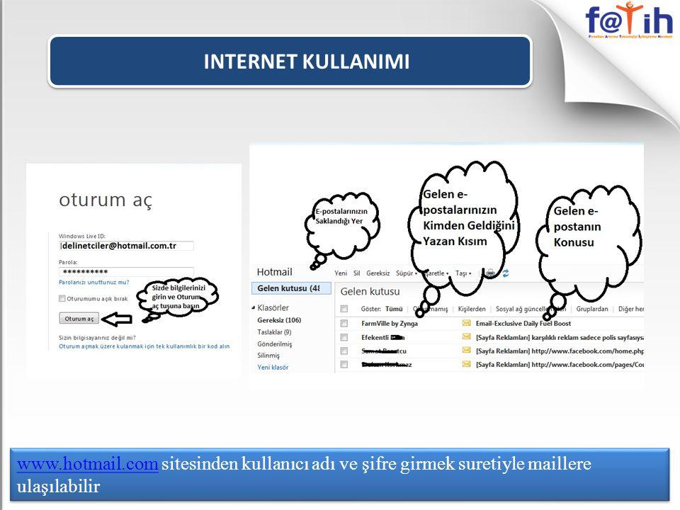 INTERNET KULLANIMI www.hotmail.comwww.hotmail.com sitesinden kullanıcı adı ve şifre girmek suretiyle maillere ulaşılabilir www.hotmail.comwww.hotmail.