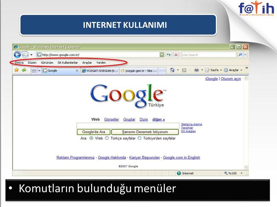 INTERNET KULLANIMI SIK KULLANILANLAR listesine eklenmiş olan siteleri gösterir