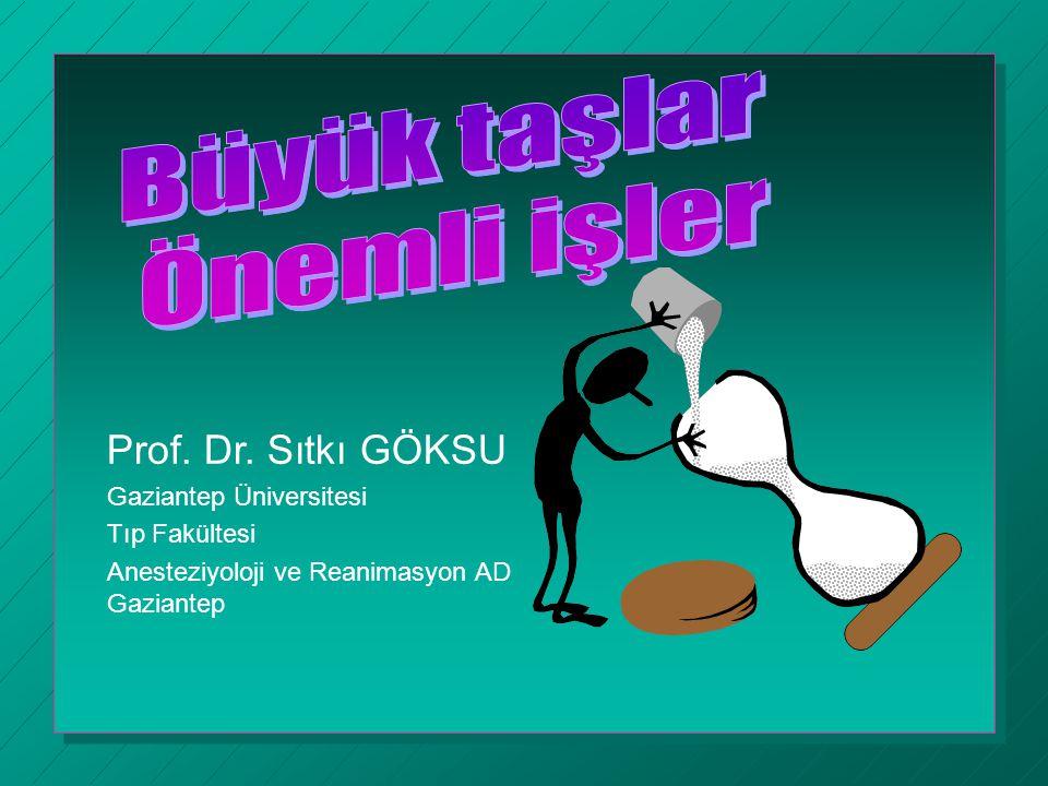 Prof. Dr. Sıtkı GÖKSU Gaziantep Üniversitesi Tıp Fakültesi Anesteziyoloji ve Reanimasyon AD Gaziantep