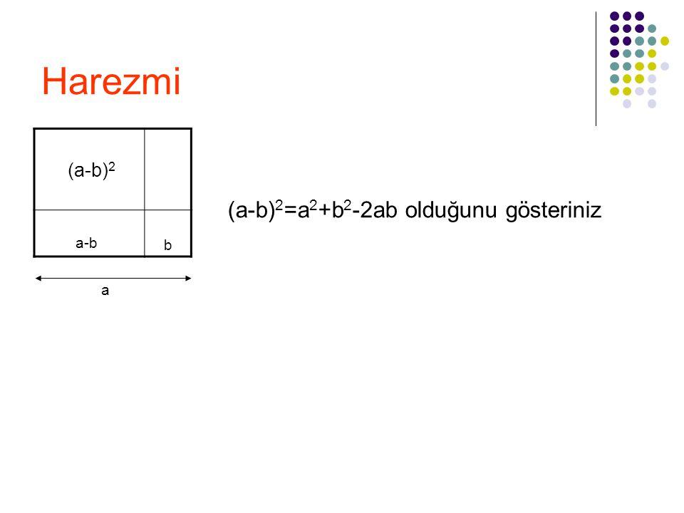 Harezmi (a-b) 2 a-b b a (a-b) 2 =a 2 +b 2 -2ab olduğunu gösteriniz