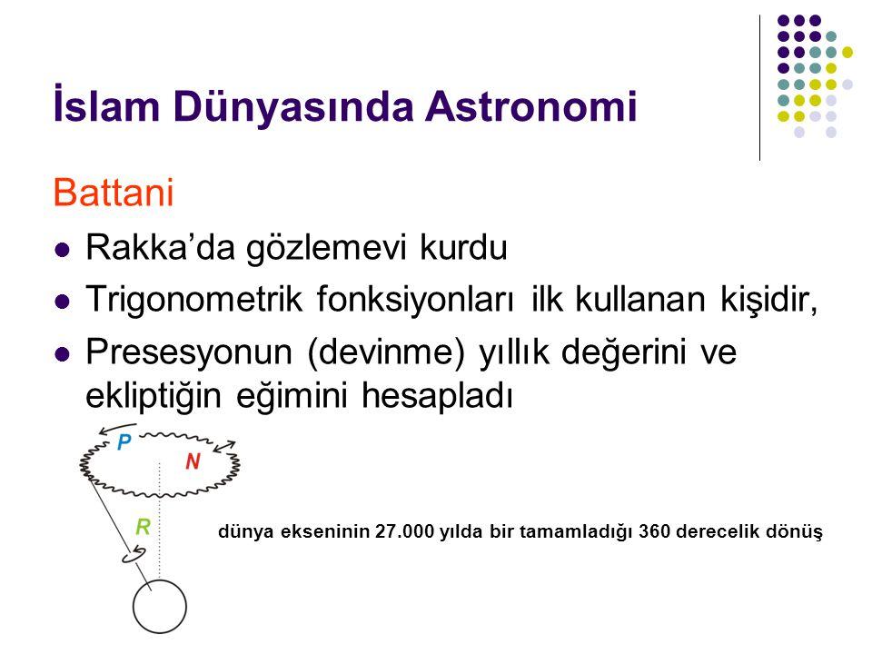 İslam Dünyasında Astronomi Battani Rakka'da gözlemevi kurdu Trigonometrik fonksiyonları ilk kullanan kişidir, Presesyonun (devinme) yıllık değerini ve