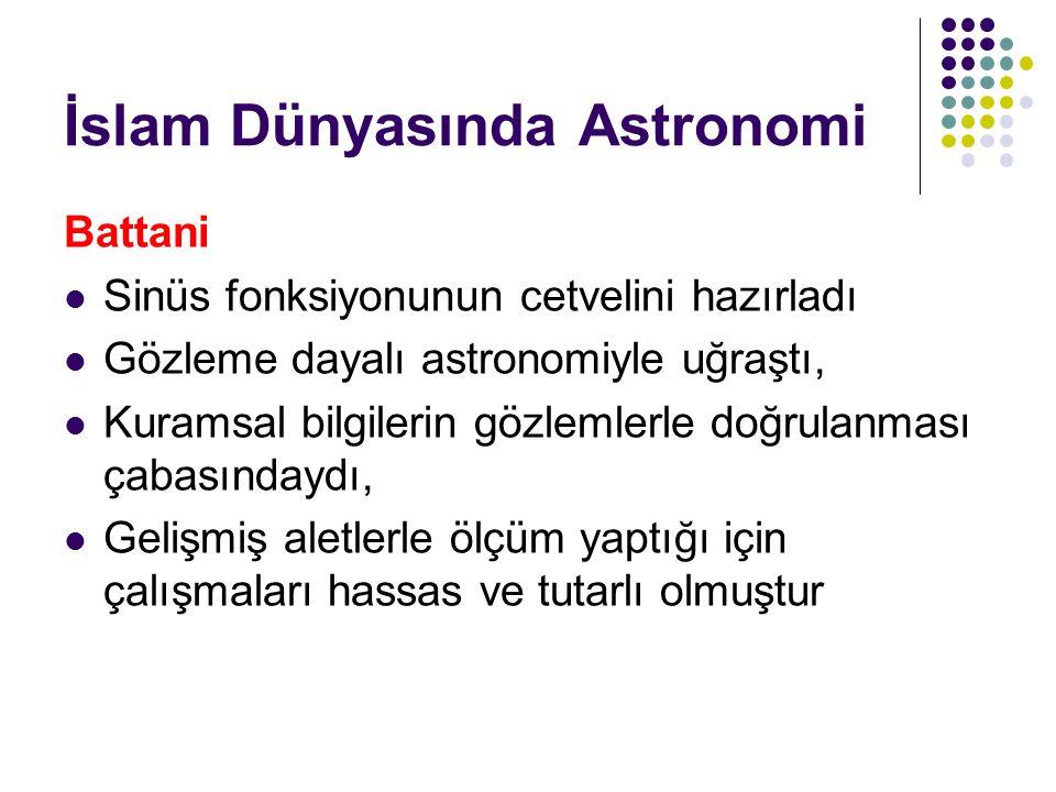 İslam Dünyasında Astronomi Battani Sinüs fonksiyonunun cetvelini hazırladı Gözleme dayalı astronomiyle uğraştı, Kuramsal bilgilerin gözlemlerle doğrul