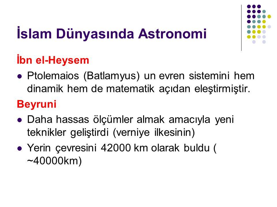 İslam Dünyasında Astronomi İbn el-Heysem Ptolemaios (Batlamyus) un evren sistemini hem dinamik hem de matematik açıdan eleştirmiştir. Beyruni Daha has