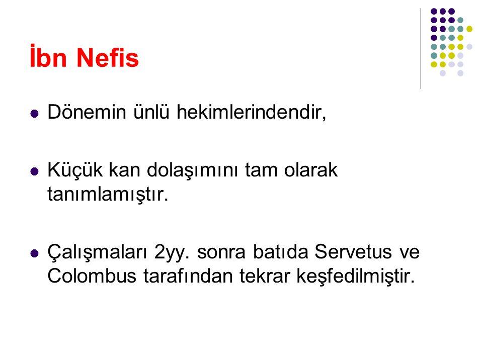 İbn Nefis Dönemin ünlü hekimlerindendir, Küçük kan dolaşımını tam olarak tanımlamıştır. Çalışmaları 2yy. sonra batıda Servetus ve Colombus tarafından