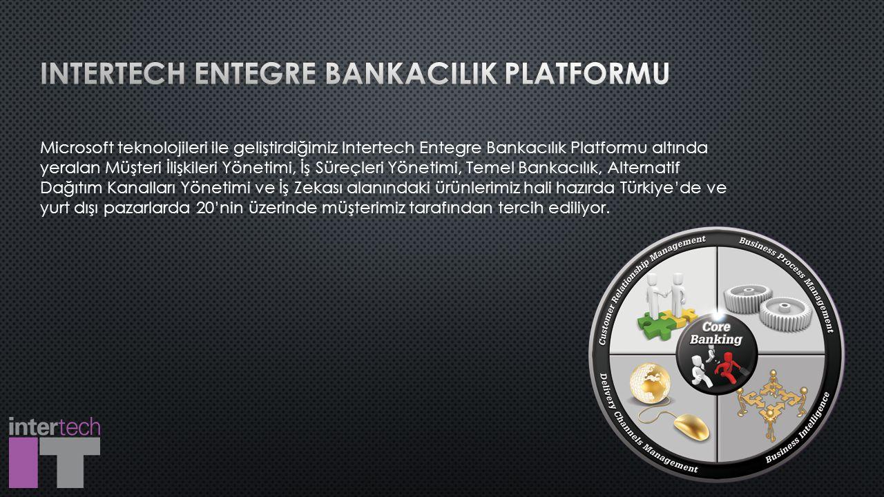 Microsoft teknolojileri ile geliştirdiğimiz Intertech Entegre Bankacılık Platformu altında yeralan Müşteri İlişkileri Yönetimi, İş Süreçleri Yönetimi, Temel Bankacılık, Alternatif Dağıtım Kanalları Yönetimi ve İş Zekası alanındaki ürünlerimiz hali hazırda Türkiye'de ve yurt dışı pazarlarda 20'nin üzerinde müşterimiz tarafından tercih ediliyor.