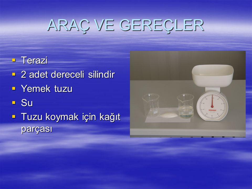 ARAÇ VE GEREÇLER  Terazi  2 adet dereceli silindir  Yemek tuzu  Su  Tuzu koymak için kağıt parçası
