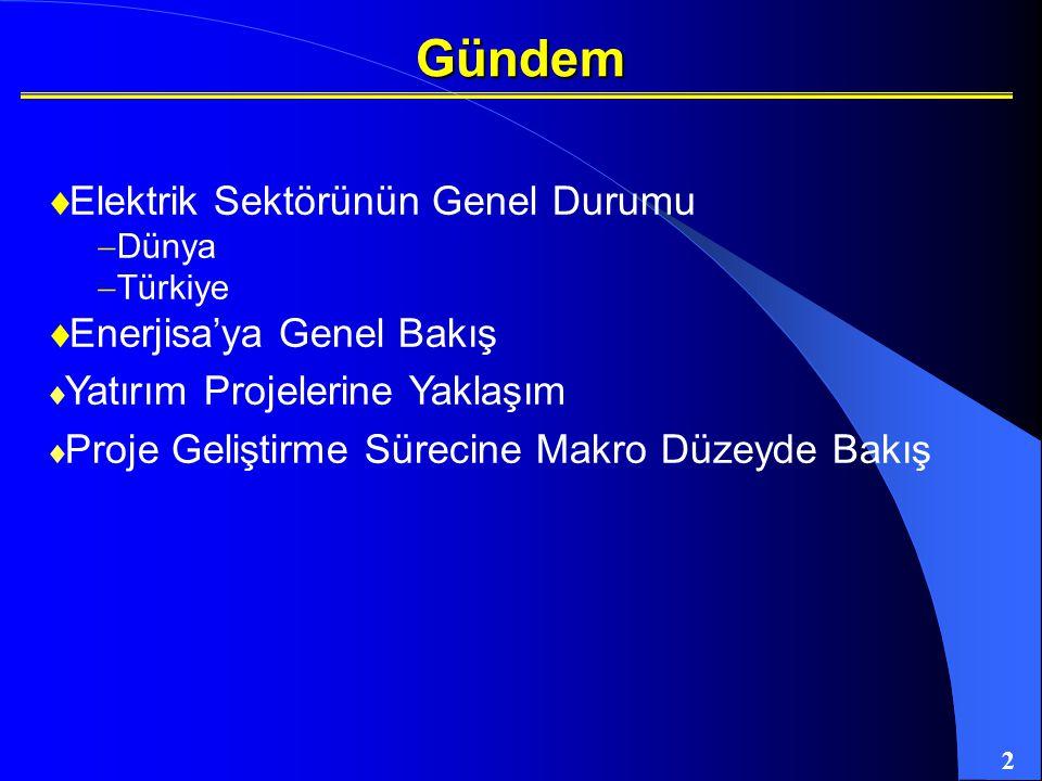 2 Gündem  Elektrik Sektörünün Genel Durumu  Dünya  Türkiye  Enerjisa'ya Genel Bakış  Yatırım Projelerine Yaklaşım  Proje Geliştirme Sürecine Mak