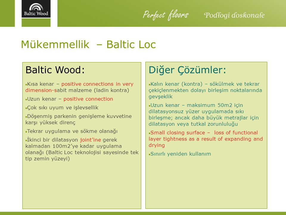 Mükemmellik – Baltic Loc Baltic Wood: Kısa kenar – positive connections in very dimension-sabit malzeme (ladin kontra) Uzun kenar – positive connectio