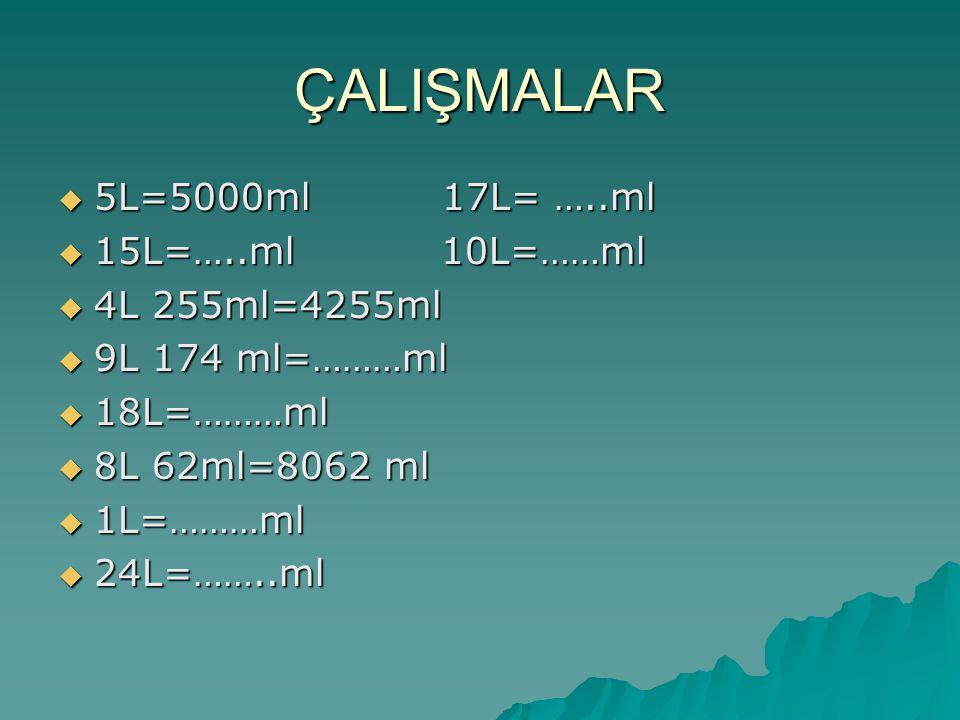 ÇALIŞMALAR  5L=5000ml 17L= …..ml  15L=…..ml 10L=……ml  4L 255ml=4255ml  9L 174 ml=………ml  18L=………ml  8L 62ml=8062 ml  1L=………ml  24L=……..ml