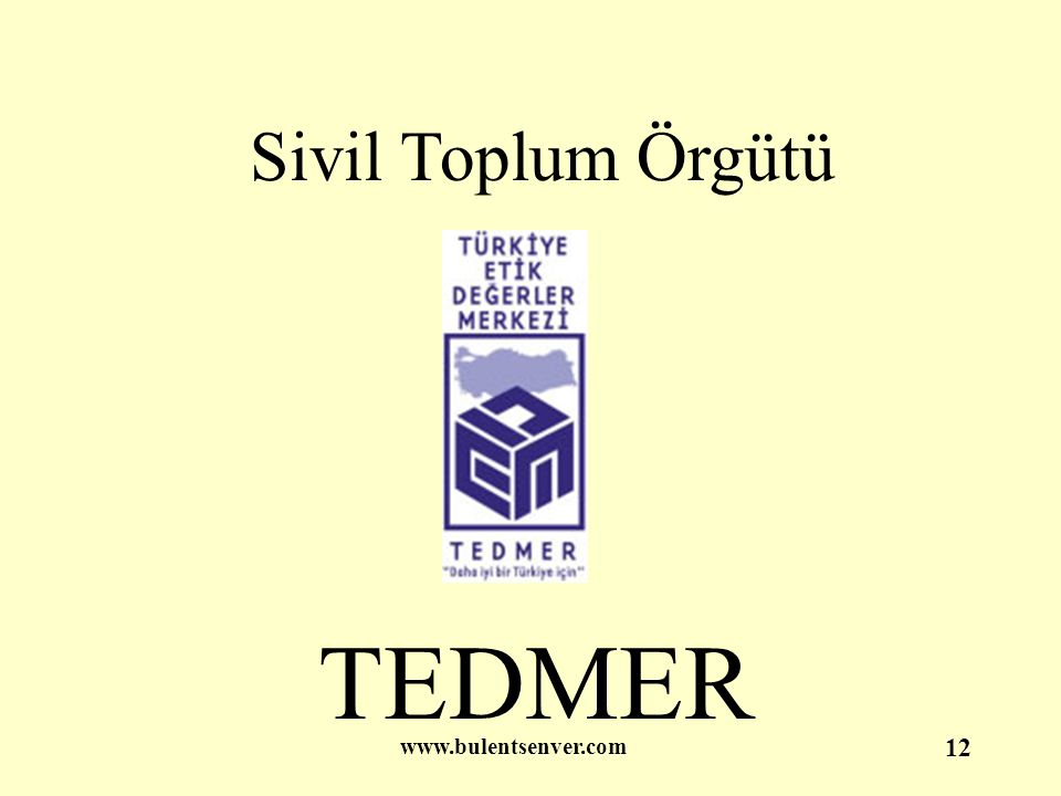 www.bulentsenver.com 12 Sivil Toplum Örgütü TEDMER