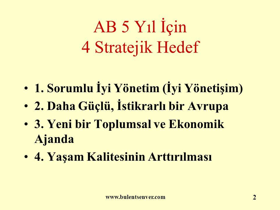 2 AB 5 Yıl İçin 4 Stratejik Hedef 1. Sorumlu İyi Yönetim (İyi Yönetişim) 2. Daha Güçlü, İstikrarlı bir Avrupa 3. Yeni bir Toplumsal ve Ekonomik Ajanda