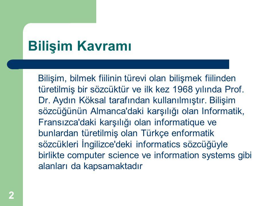 2 Bilişim Kavramı Bilişim, bilmek fiilinin türevi olan bilişmek fiilinden türetilmiş bir sözcüktür ve ilk kez 1968 yılında Prof. Dr. Aydın Köksal tara