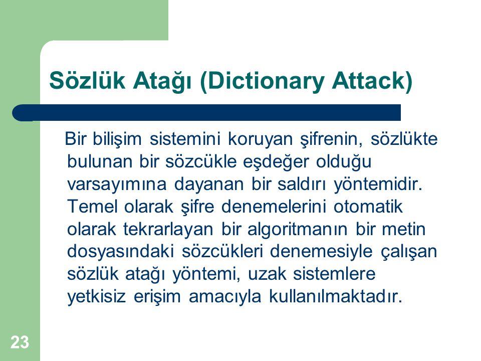 23 Sözlük Atağı (Dictionary Attack) Bir bilişim sistemini koruyan şifrenin, sözlükte bulunan bir sözcükle eşdeğer olduğu varsayımına dayanan bir saldı