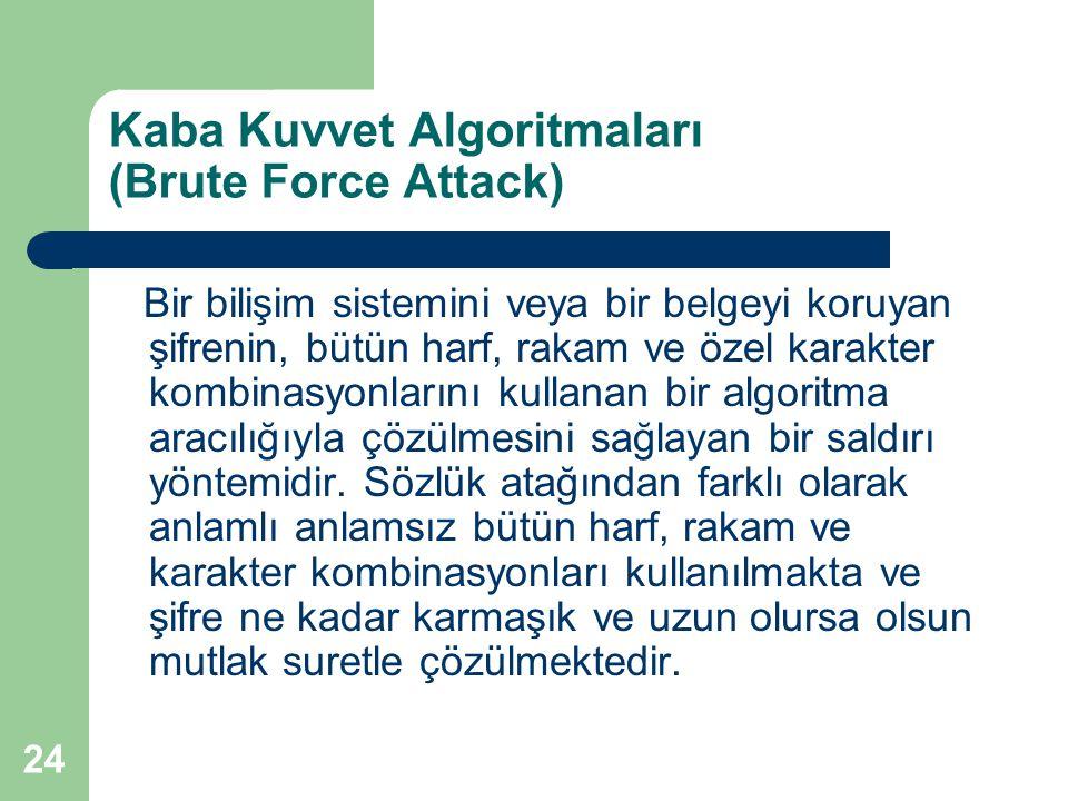 24 Kaba Kuvvet Algoritmaları (Brute Force Attack) Bir bilişim sistemini veya bir belgeyi koruyan şifrenin, bütün harf, rakam ve özel karakter kombinas