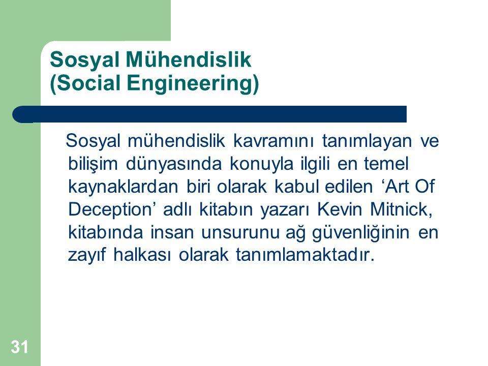 31 Sosyal Mühendislik (Social Engineering) Sosyal mühendislik kavramını tanımlayan ve bilişim dünyasında konuyla ilgili en temel kaynaklardan biri ola
