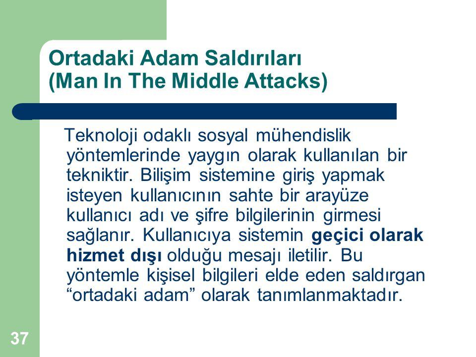 37 Ortadaki Adam Saldırıları (Man In The Middle Attacks) Teknoloji odaklı sosyal mühendislik yöntemlerinde yaygın olarak kullanılan bir tekniktir. Bil