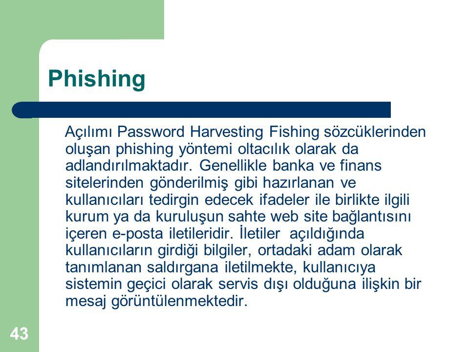 43 Phishing Açılımı Password Harvesting Fishing sözcüklerinden oluşan phishing yöntemi oltacılık olarak da adlandırılmaktadır. Genellikle banka ve fin