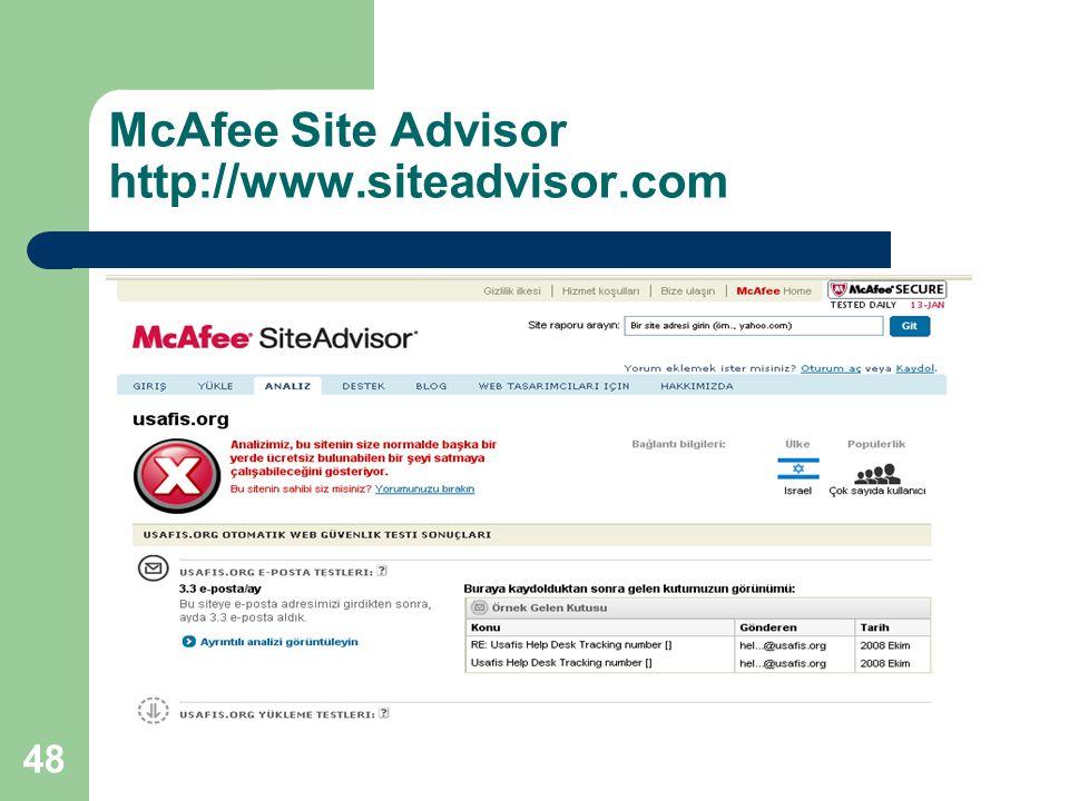48 McAfee Site Advisor http://www.siteadvisor.com