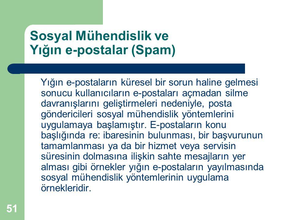 51 Sosyal Mühendislik ve Yığın e-postalar (Spam) Yığın e-postaların küresel bir sorun haline gelmesi sonucu kullanıcıların e-postaları açmadan silme d