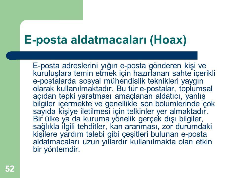 52 E-posta aldatmacaları (Hoax) E-posta adreslerini yığın e-posta gönderen kişi ve kuruluşlara temin etmek için hazırlanan sahte içerikli e-postalarda