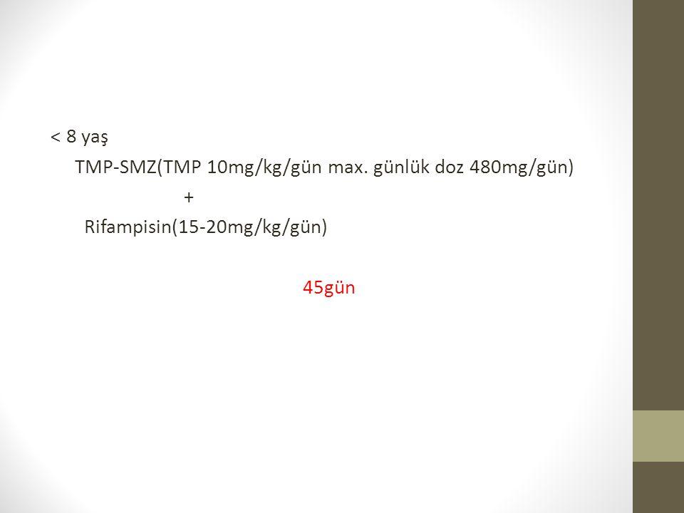 < 8 yaş TMP-SMZ(TMP 10mg/kg/gün max. günlük doz 480mg/gün) + Rifampisin(15-20mg/kg/gün) 45gün