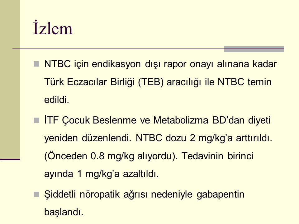 İzlem NTBC için endikasyon dışı rapor onayı alınana kadar Türk Eczacılar Birliği (TEB) aracılığı ile NTBC temin edildi. İTF Çocuk Beslenme ve Metaboli