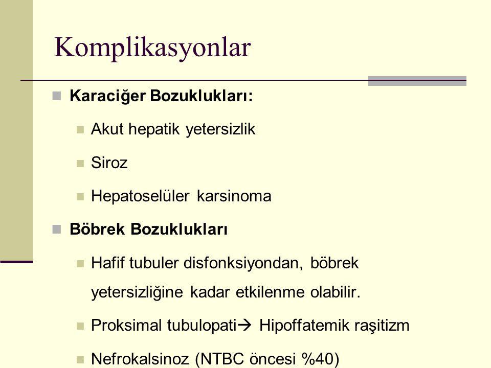 Komplikasyonlar Karaciğer Bozuklukları: Akut hepatik yetersizlik Siroz Hepatoselüler karsinoma Böbrek Bozuklukları Hafif tubuler disfonksiyondan, böbr