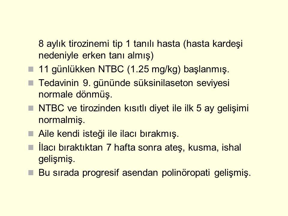 8 aylık tirozinemi tip 1 tanılı hasta (hasta kardeşi nedeniyle erken tanı almış) 11 günlükken NTBC (1.25 mg/kg) başlanmış. Tedavinin 9. gününde süksin