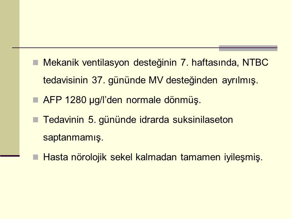 Mekanik ventilasyon desteğinin 7. haftasında, NTBC tedavisinin 37. gününde MV desteğinden ayrılmış. AFP 1280 µg/l'den normale dönmüş. Tedavinin 5. gün