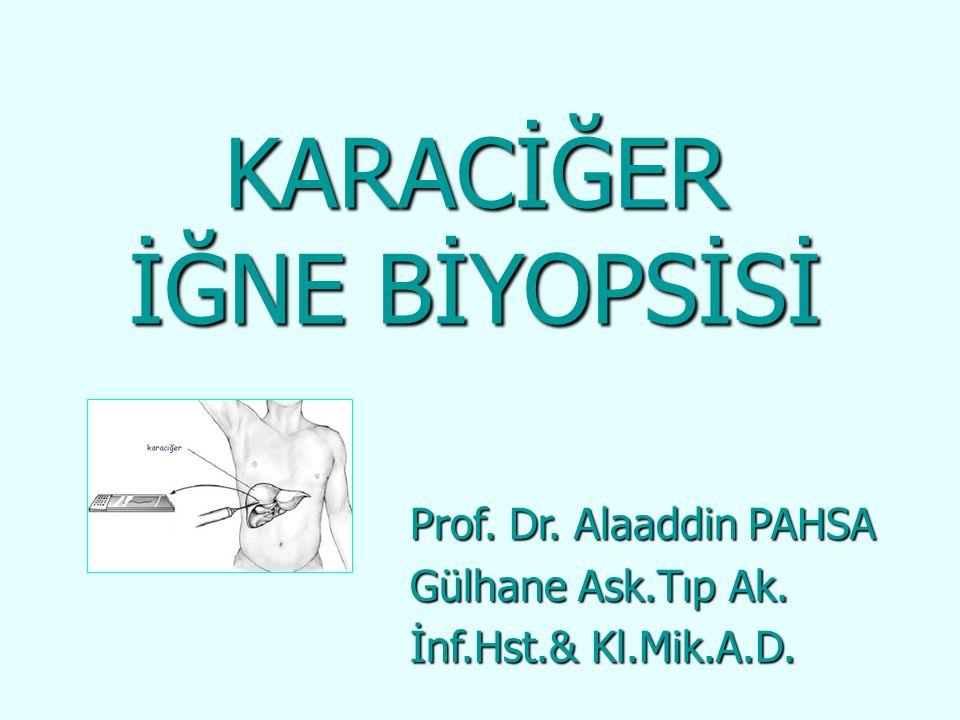 KARACİĞER İĞNE BİYOPSİSİ Prof. Dr. Alaaddin PAHSA Gülhane Ask.Tıp Ak. İnf.Hst.& Kl.Mik.A.D.