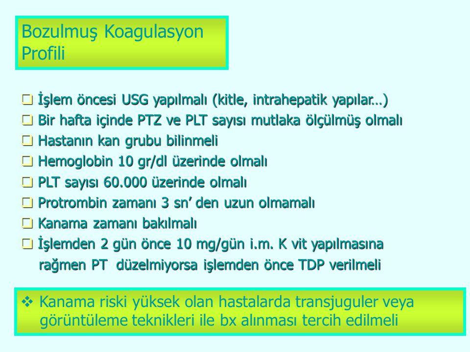 Bozulmuş Koagulasyon Profili  İşlem öncesi USG yapılmalı (kitle, intrahepatik yapılar…)  Bir hafta içinde PTZ ve PLT sayısı mutlaka ölçülmüş olmalı
