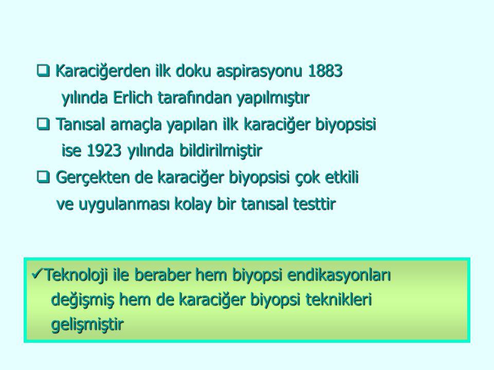  Karaciğerden ilk doku aspirasyonu 1883 yılında Erlich tarafından yapılmıştır yılında Erlich tarafından yapılmıştır  Tanısal amaçla yapılan ilk kara