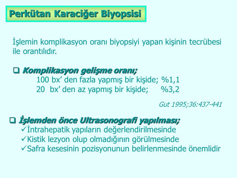 Perkütan Karaciğer Biyopsisi İşlemin komplikasyon oranı biyopsiyi yapan kişinin tecrübesi ile orantılıdır.  Komplikasyon gelişme oranı; 100 bx' den f