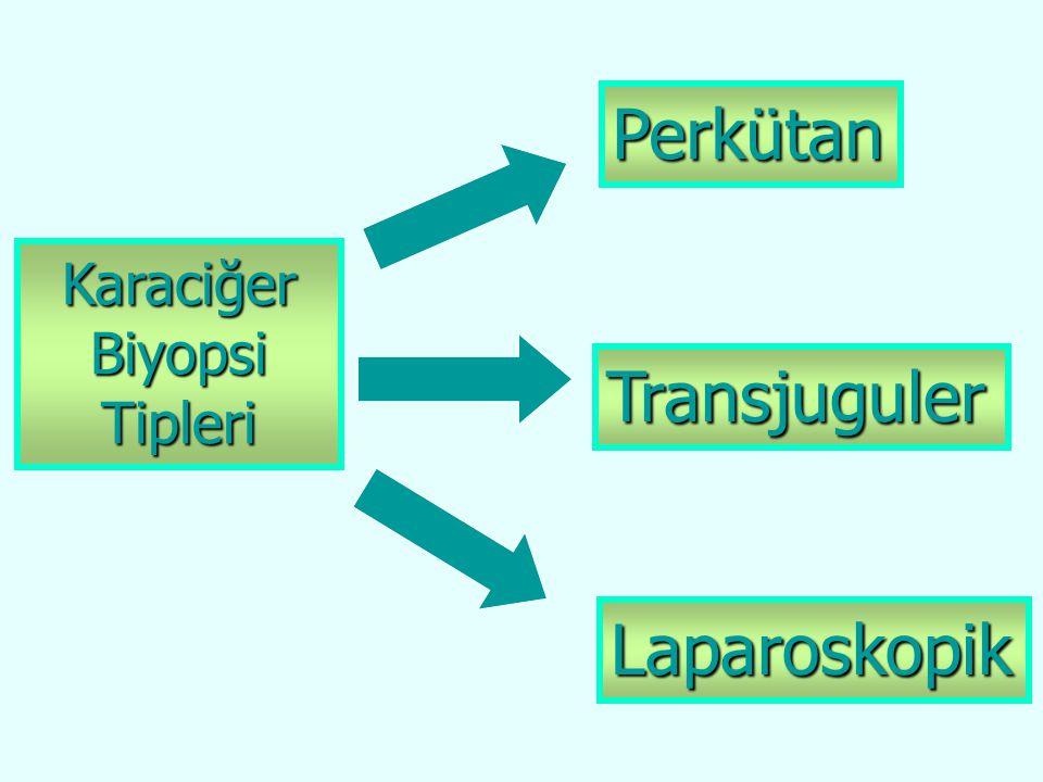 Laparaskopik Karaciğer Biyopsisi  Endikasyonları - Laboratuvar veya görüntüleme yöntemleri ile tanı - Laboratuvar veya görüntüleme yöntemleri ile tanı konulamayan vakalar konulamayan vakalar - Kronik karaciğer hastalıklarının tanısında - Kronik karaciğer hastalıklarının tanısında - Kanser evrelemesi için - Kanser evrelemesi için - Peritoneal hastalık varlığını göstermek için - Peritoneal hastalık varlığını göstermek için  Perkütan biyopsi kadar güvenilirdir  Fokal lezyonalrdan biyopsi alınmasında en değerlidir  Karaciğerin gross görünümü hakkında bilgi vermesi avantajdır  Koagülasyon profili bozuk hastalarad tercih edilir Gastrointest Endosc 1998; 47: 391-5 Am J Gastr 1997; 67:319-23