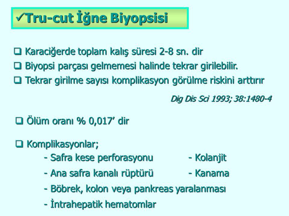 Tru-cut İğne Biyopsisi Tru-cut İğne Biyopsisi  Karaciğerde toplam kalış süresi 2-8 sn. dir  Biyopsi parçası gelmemesi halinde tekrar girilebilir. 